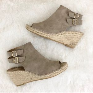 Kanna Taupe Leather Open Toe Espadrille Wedge
